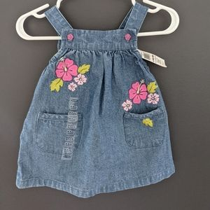NWT Denim floral detail dress with diaper cover